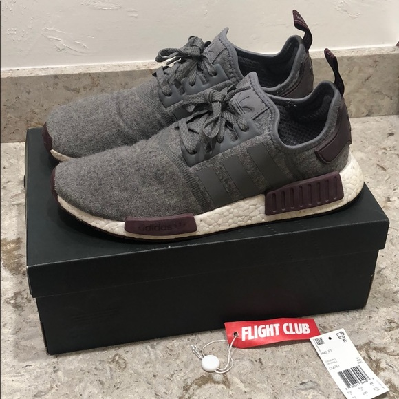 adidas Shoes - Adidas nmd wool grey/maroon size 10